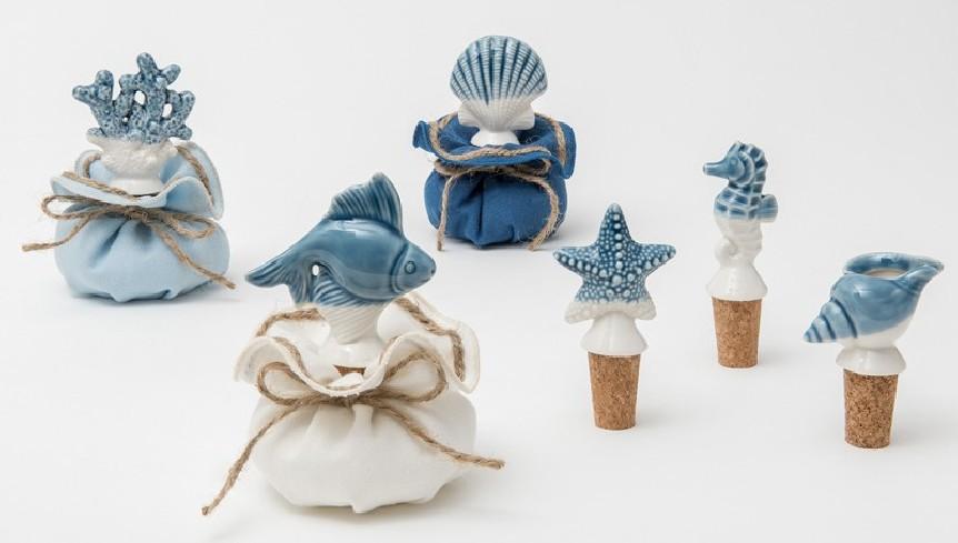 Tappo bottiglia bianco blu in porcellana 6 modelli assortiti A7901 Oceano Ad Emozioni