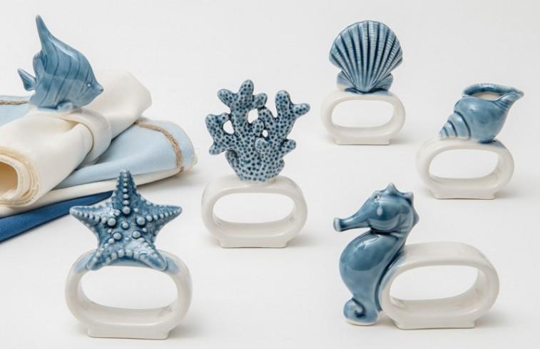 Portatovagliolo bianco blu in porcellana 6 modelli assortiti A7902 Oceano Ad Emozioni