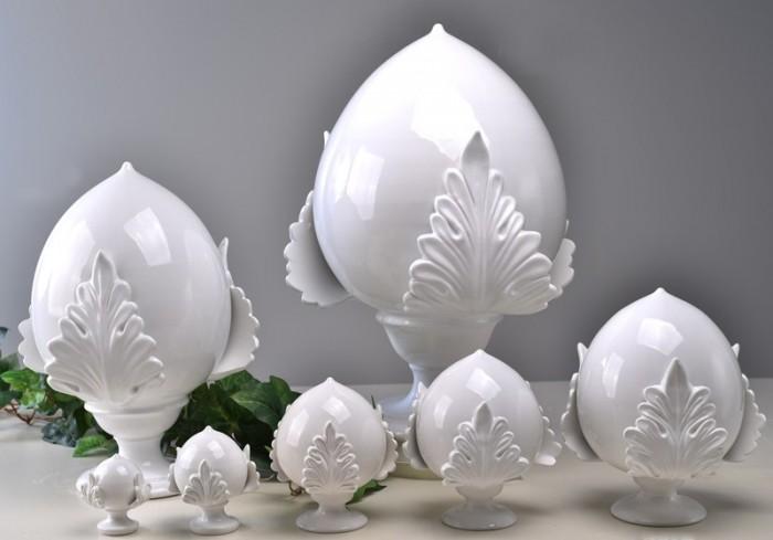 Pomo bianco foglia piena in ceramica porcellanata artigianale pugliese