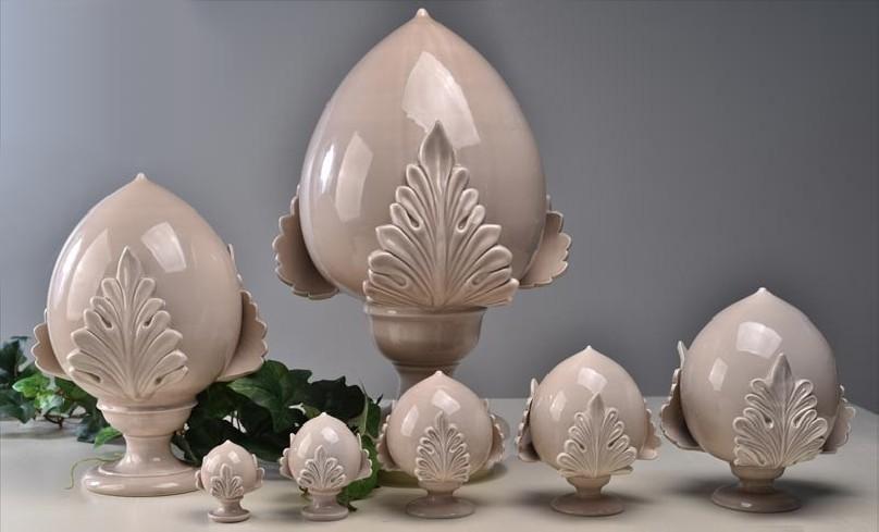 Pomo tortora chiaro foglia piena in ceramica porcellanata artigianale pugliese