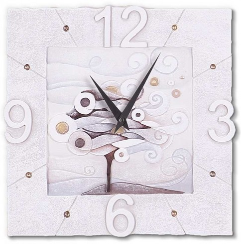 Orologio quadrato Scompiglio-albero bianco oro 44039ba Cartapietra