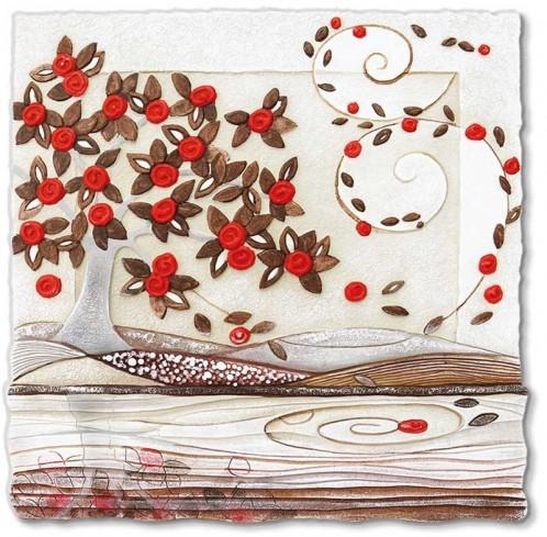 Quadro Foglie al vento rosso Anima Mundi 110548ro Cartapietra