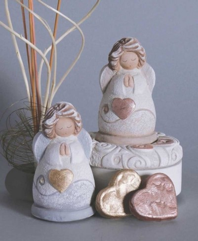Scultura Angelino custode dei bimbi Rame st10a06rm Cartapietra
