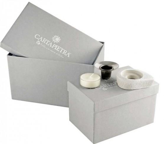 Tris Portacandele Eclettica bianco LU0044BA Cartapietra