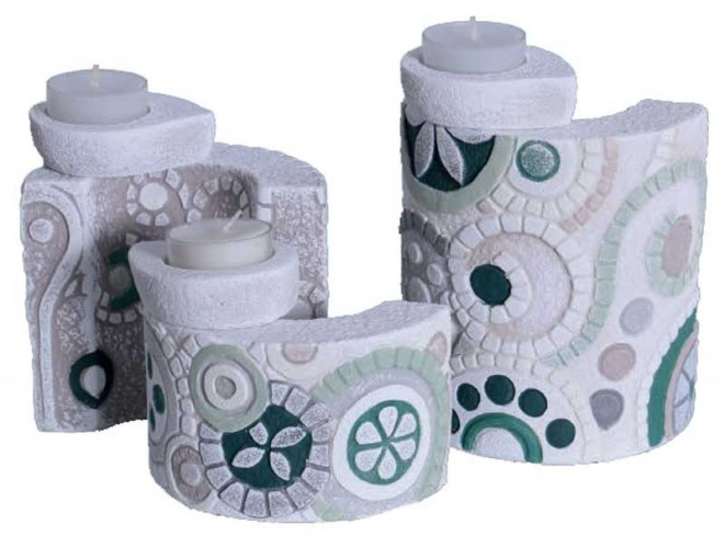 Tris Portacandele Eclettica Verde LU0044ve Cartapietra