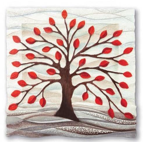 Formella Albero della vita rosso 50 x 50 cm 110501ro Cartapietra