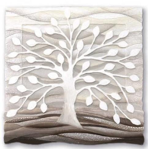 Formella Albero della vita bianco 50 x 50 cm 110501ba Cartapietra