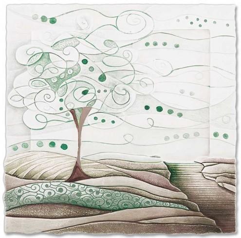Formella L'albero dei sogni verde natura 50 x 50 cm 1105106vn Cartapietra