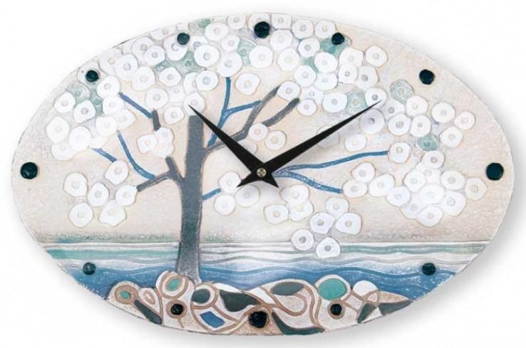 Orologio ovale La prima luce acqua 40 x 25 cm 435107aq Cartapietra