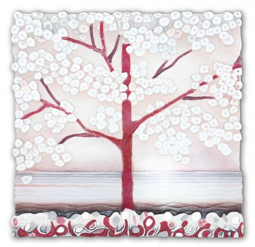 Quadro La prima luce rosa 50 x 50 cm 1105107ra Cartapietra