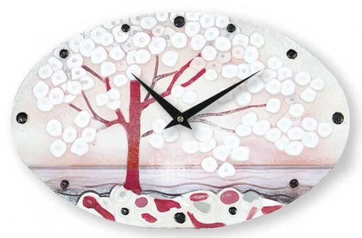 Orologio ovale La prima luce rosa 40 x 25 cm 435107ra Cartapietra