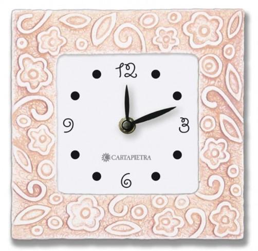 Orologio profumato quadrato Prati in fiore rosa 16 x 16 cm pb016ra Cartapietra