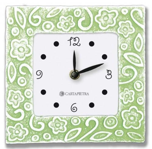 Orologio profumato quadrato Prati in fiore verde 16 x 16 cm pb016ve Cartapietra