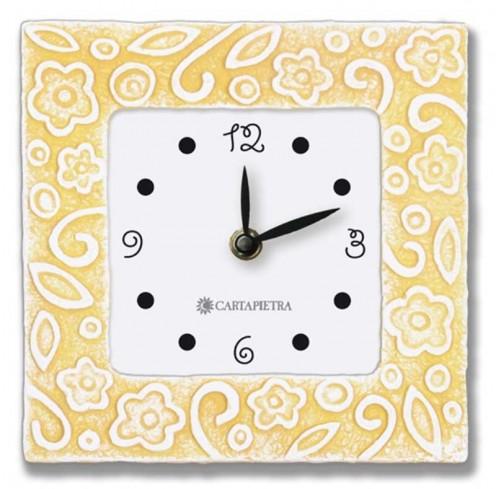 Orologio profumato quadrato Prati in fiore giallo 16 x 16 cm pb016gi Cartapietra