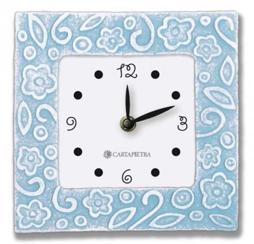 Orologio profumato quadrato Prati in fiore azzurro pallido 16 x 16 cm pb016ap Cartapietra