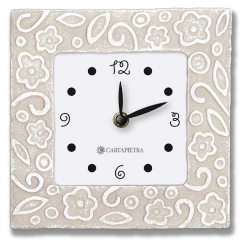 Orologio profumato quadrato Prati in fiore neutro 16 x 16 cm pb016nt Cartapietra