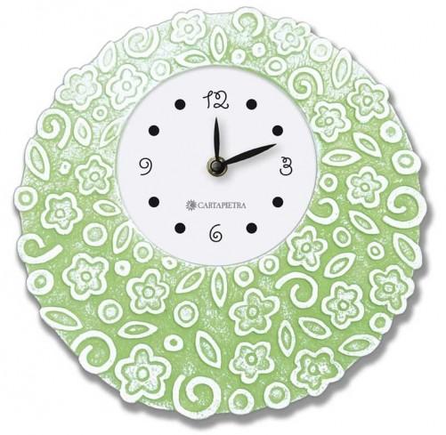 Orologio profumato rotondo Prati in fiore verde Ø 22 cm pb022ve Cartapietra