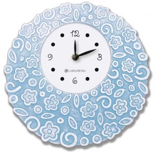 Orologio profumato rotondo Prati in fiore azzurro pallido Ø 22 cm pb022ap Cartapietra