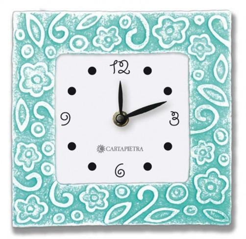 Orologio profumato quadrato Prati in fiore tiffany 16 x 16 cm pb016ty Cartapietra