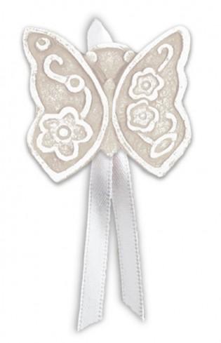 Magnete profumato farfalla con nastro Prati in fiore neutro pbm08fnt Cartapietra
