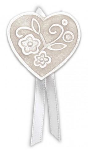 Magnete profumato cuore con nastro Prati in fiore neutro pbm08cnt Cartapietra