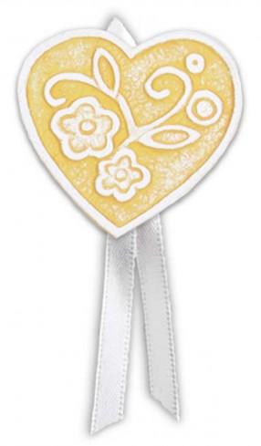 Magnete profumato cuore con nastro Prati in fiore giallo pbm08cgi Cartapietra