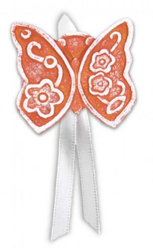 Magnete profumato farfalla con nastro Prati in fiore rosso pbm08fro Cartapietra
