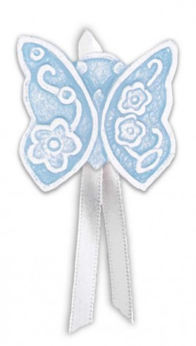 Magnete profumato farfalla con nastro Prati in fiore azzurro pallido pbm08fap Cartapietra