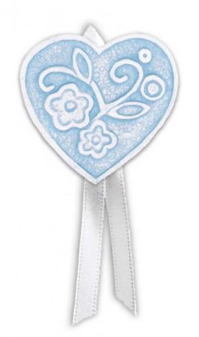Magnete profumato cuore con nastro Prati in fiore azzurro pallido pbm08cap Cartapietra