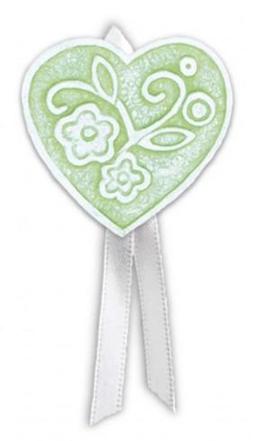 Magnete profumato cuore con nastro Prati in fiore verde pbm08cve Cartapietra