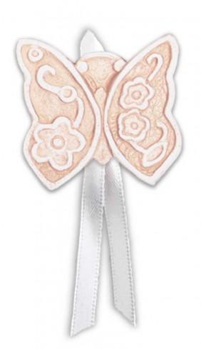 Magnete profumato farfalla con nastro Prati in fiore rosa pbm08fra Cartapietra