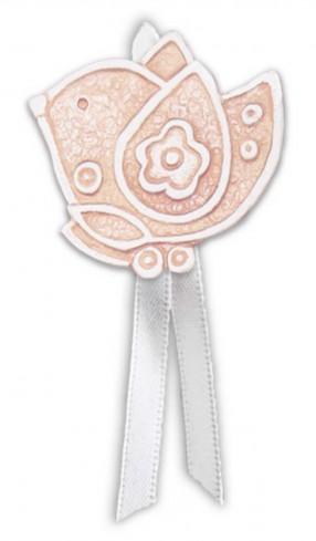 Magnete profumato uccellino con nastro Prati in fiore rosa pbm08ura Cartapietra