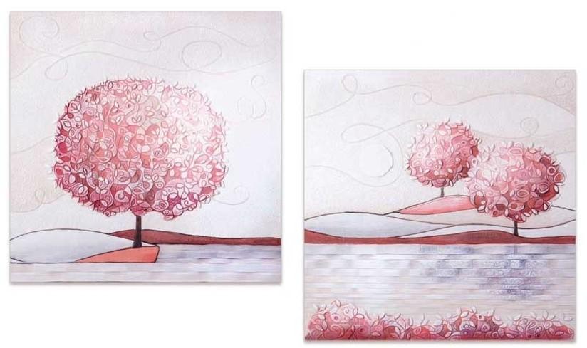 Coppia quadri Un nuovo orizzonte Corallo 60 x 60 cm 1006016cr Cartapietra