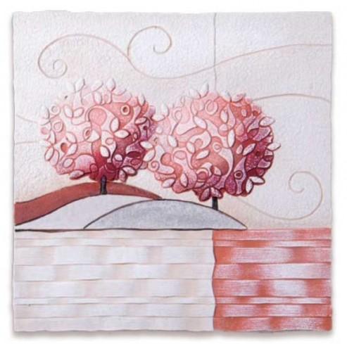 Formella Un nuovo orizzonte Corallo 40 x 40 cm 1104216cr Cartapietra