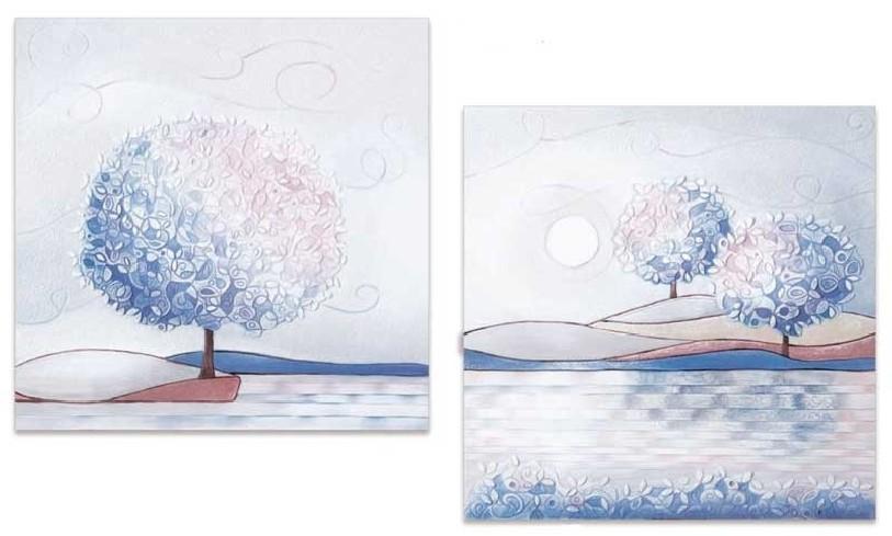 Coppia quadri Un nuovo orizzonte Iris 60 x 60 cm 1006016ir Cartapietra