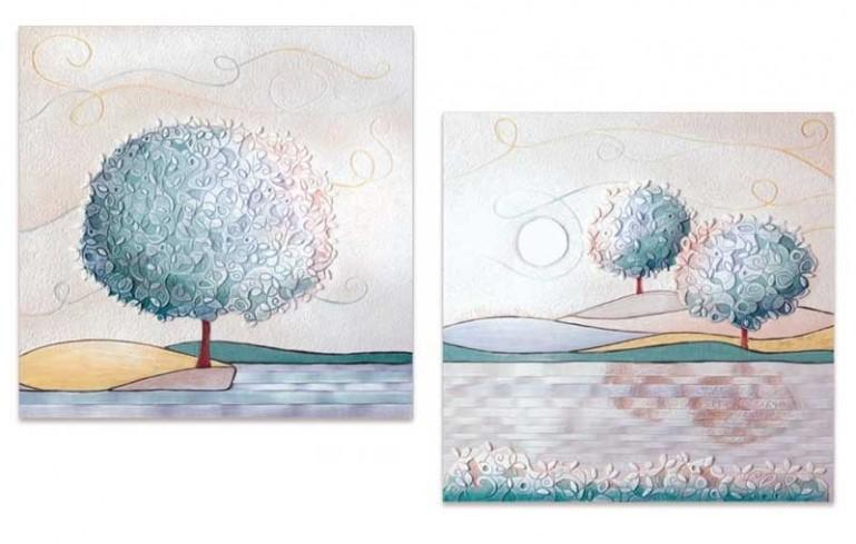 Coppia quadri Un nuovo orizzonte Tè 60 x 60 cm 1006016tè Cartapietra