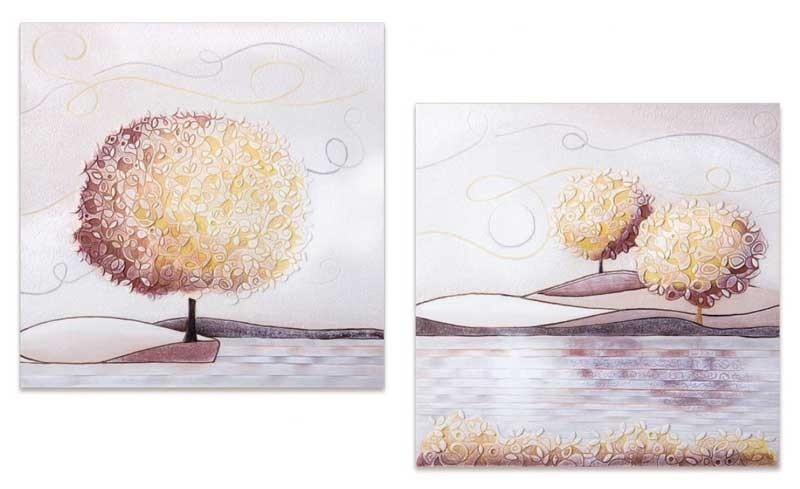 Coppia quadri Un nuovo orizzonte Spezie 60 x 60 cm 1006016sp Cartapietra