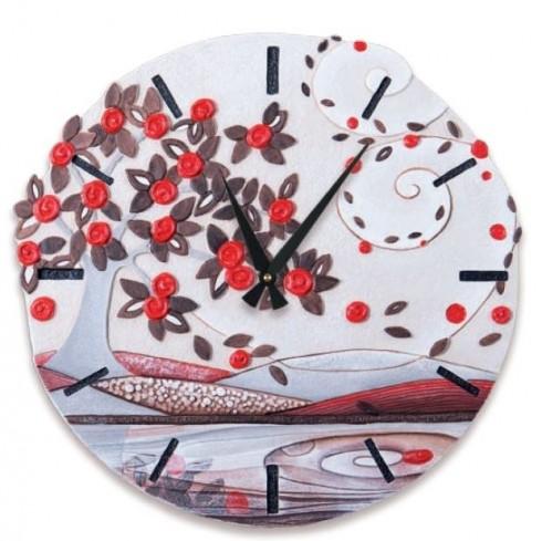 Orologio sagomato Foglie al vento Rosso Ø 45 cm 44548ro Cartapietra