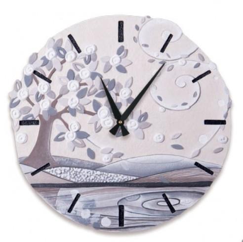 Orologio sagomato Foglie al vento Bianco Ø 45 cm 44548ba Cartapietra