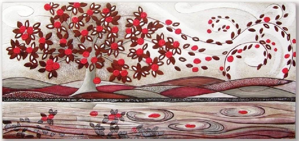 Quadro Foglie al vento 101548ro rosso Cartapietra