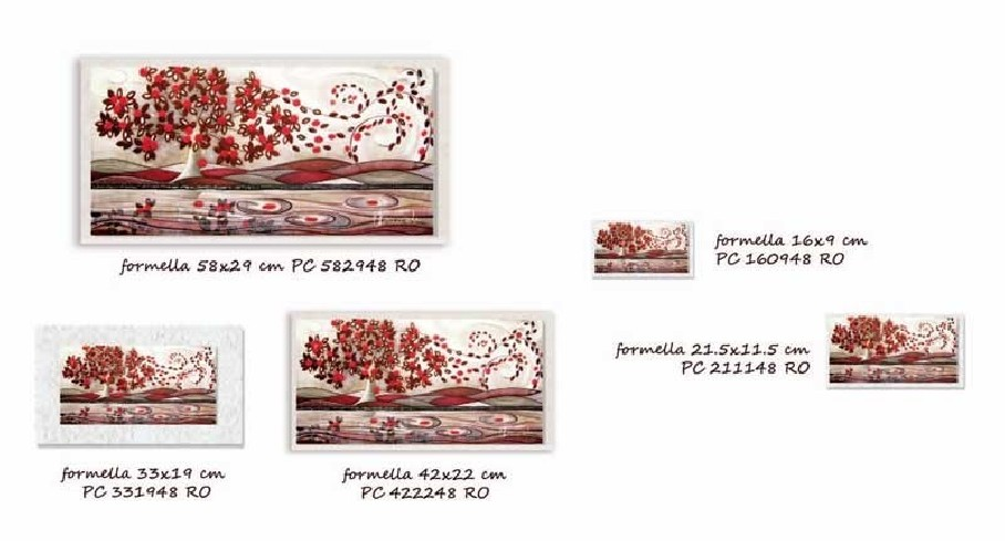 Formella Foglie al vento Rosso Piccoli capolavori Anima Mundi Cartapietra