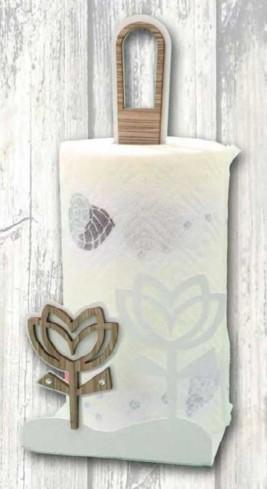 Portarotolo in metallo con applicazione tulipano in legno con strass TUC-06 Serie Tulipano Casa Negò
