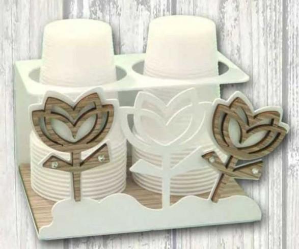 Portabicchieri in metallo bianco con applicazione Tulipani in legno e metallo con strass TUC-09 Serie Tulipano Casa Negò