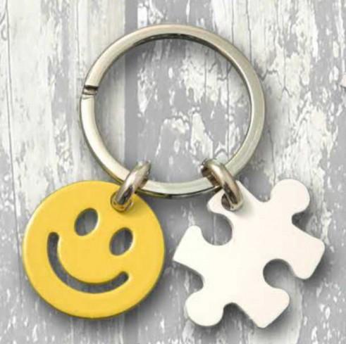 Portachiavi doppio in metallo Smile/Puzzle PCD-08 Portachiavi In Due Negò