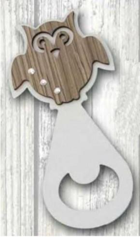 Apribottiglie Gufo in metallo bianco e legno + strass ST-191 Serie Stappo 019 Negò
