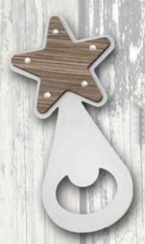 Apribottiglie Stella in metallo bianco e legno + strass ST-196 Serie Stappo 019 Negò