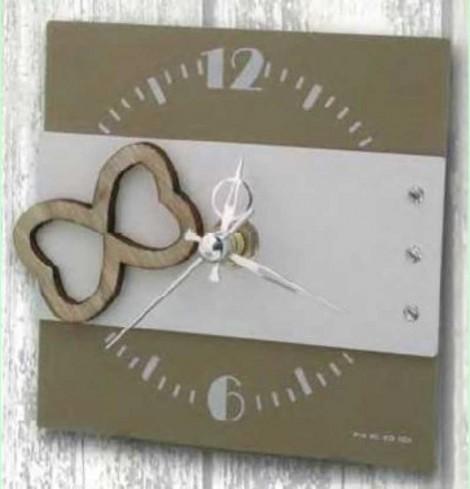 Orologio in metallo bianco-tortora + strass con appl. Infinity in legno SIL-03/08/06 Infinity Love Negò