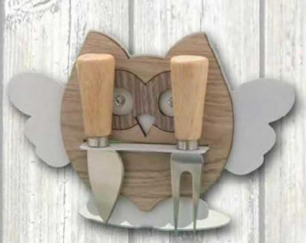 Porta coltellini in metallo bianco con applicazione Gufo in legno e metallo + strass GUC-PC Gufo Casa Negò