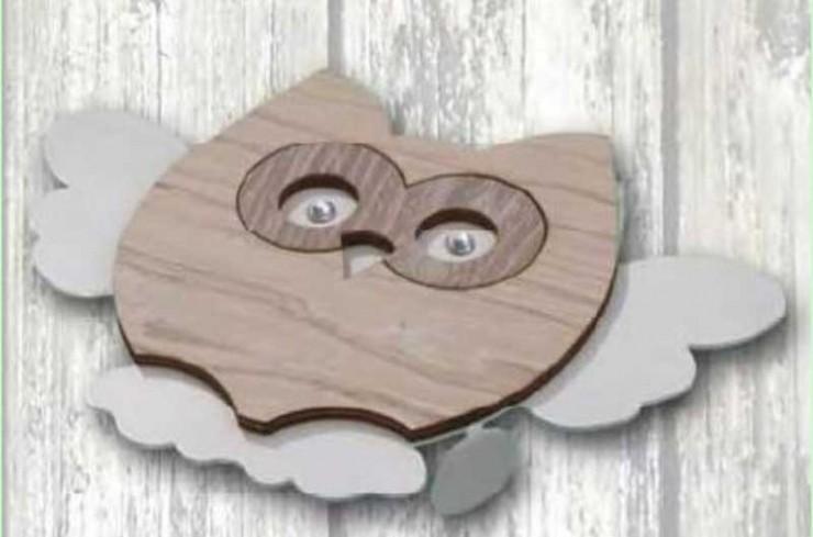 Sottopentola in metallo bianco con applicazione Gufo in legno e metallo + strass GUC-SO Serie Gufo Casa Negò