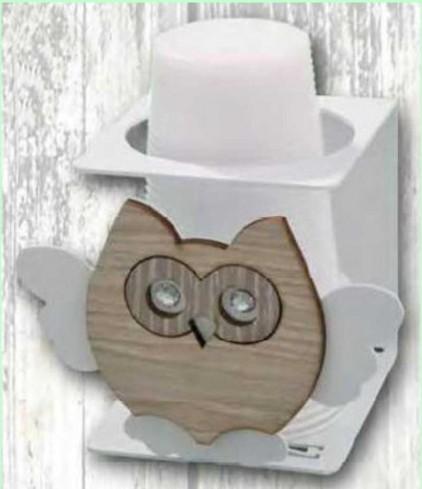Portabicchieri singolo in metallo bianco con applicazione Gufo in legno e metallo + strass GUC-13 Serie Gufo Casa Negò